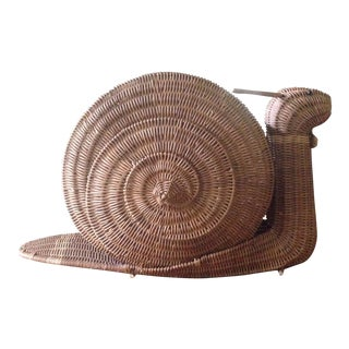 Large Vintage Wicker Snail Basket