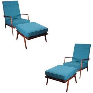 Single Walnut High Rail Back Lounge Chair by Mel Smilow