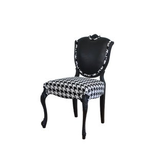 Vintage French Style Leather & Houndstooth Upholstered Chair