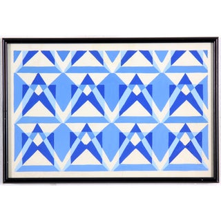 Geometric Blue & White Painting