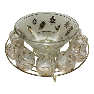 Retro Gold Leaf Punch Bowl & Glasses - Set of 13