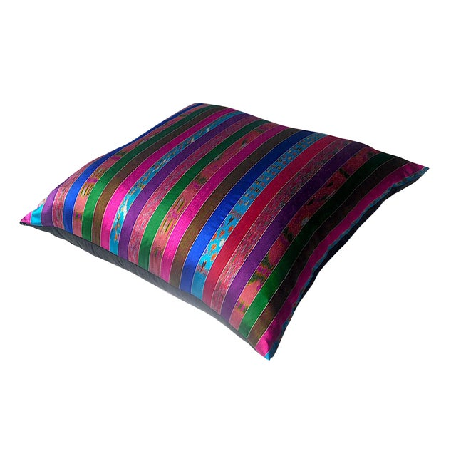 Silk Ikat Multi Stripe Floor Pillow - Image 1 of 7