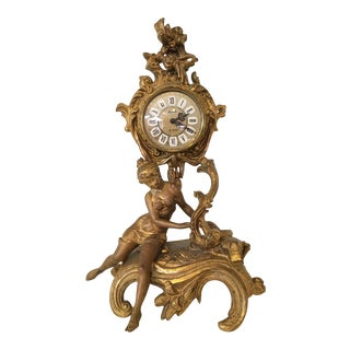 Antique Cherub Gilded Mantle Clock