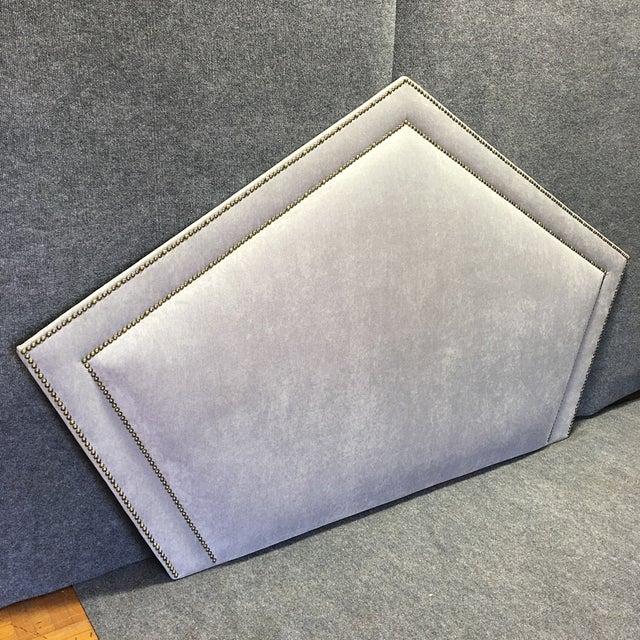 Queen Grey Upholstered Headboard, Nailhead Trim - Image 4 of 6