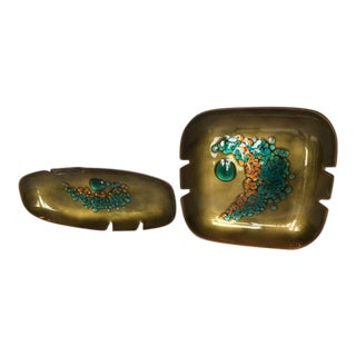 Mid Century Bovano Enamel Over Copper Ashtrays - a Pair