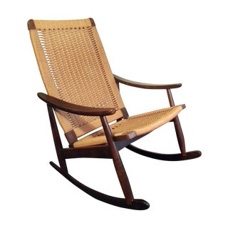 Midcentury Wegner Style Rope Walnut Rocking Chair