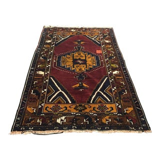 Red & Gold Turkish Bergama Rug - 4′10″ × 8′3″
