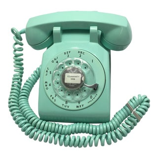 Henry Dreyfuss Turquoise Rotary Dial Telephone C. 1958