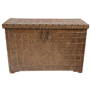 Vintage Dowry Metal Work Trunk
