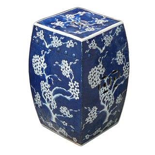 Blue And White Porcelain Square Blossom Stool