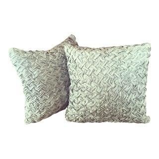 Warm Sea Foam Pintuck Pillows & Down Inserts- Pair