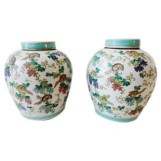 Porcelain Famille verte Ginger Jars, S/2