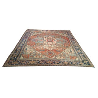 Antique Persian Serapi Hand Knotted Rug - 10′3″ × 12′8″
