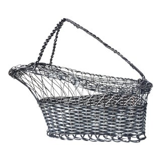 French Silver Wine Serving Basket