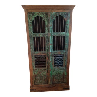 Moroccan Wooden Walnut Stained Armoire