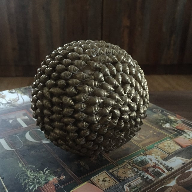 Gold Decorative Shell Balls - Set of 3 - Image 3 of 5