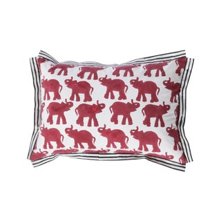 Red Block Printed Elephant Pillow