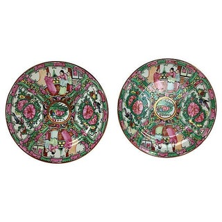 Porcelain Famille Rose Wall Plate - a Pair
