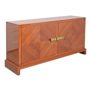 American Modern Bleached Mahogany and Brass-Mounted Credenza, Tommi Parzinger