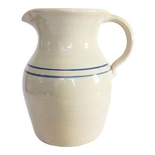 Vintage Large Blue White Striped Pottery Crock Stoneware Pitcher