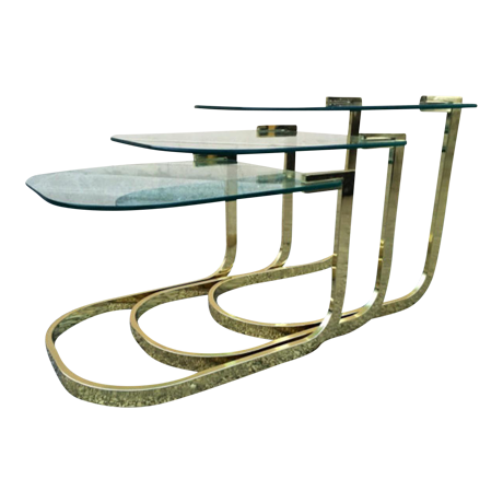 Vintage Milo Baughman Glass U0026 Brass Nesting Tables  Set Of 3   Image 1 Of