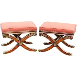Regency Style Upholstered X-Benches - A Pair