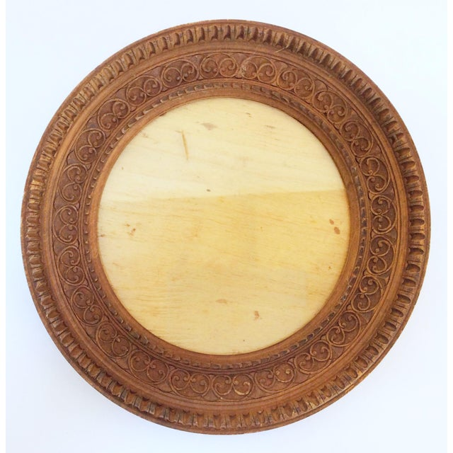 Carved Round Wooden Frame - Image 2 of 4