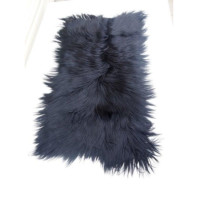 Black Long-Haired Goat Skin Rug - Image 4 of 4