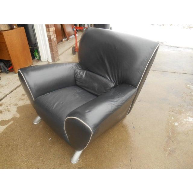 Italian Designer Contemporary Black Leather Chair - Image 2 of 5