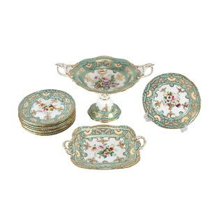 19th Century French Hand Painted Porcelain Dessert Service - Set of 11