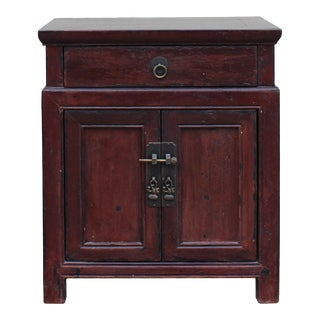 Oriental Chinese Distressed Brown Side Table Nightstand Cabinet