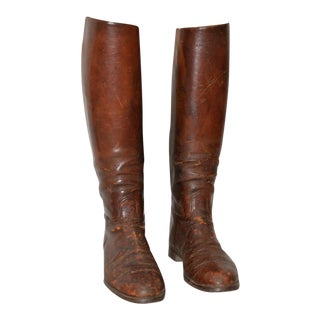 Antique Leather Riding Boots for Display