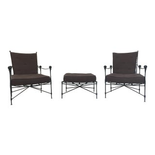 Salterini Patio Chairs with Ottoman - Pair