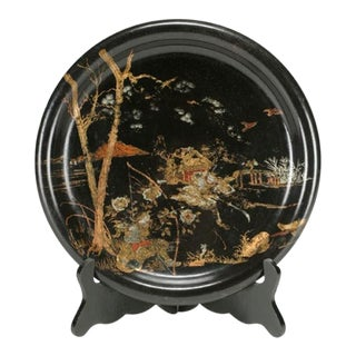 Round Black Lacquered Tray, China c.1890