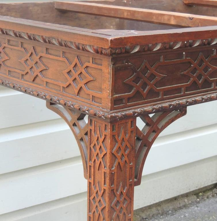 Nice 18th C English Chinese Chippendale Mahogany And Marble Slab Table   Image 4  Of 8