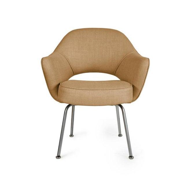 Saarinen Executive Armchairs in Gold Woven-Microfiber, Set of Six - Image 4 of 5