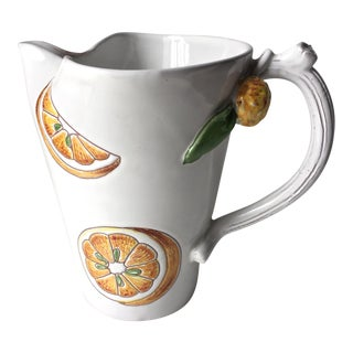 Italian Faience Pitcher-Hand Painted Oranges