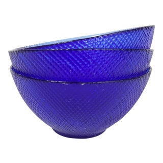Cobalt Blue French Glass Bowls - Set of 3