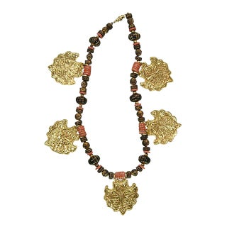 1970s Kenneth Lane KJL Tribal Faux Coral Necklace