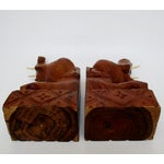 Image of Carved Wood Elephant Bookends - A Pair