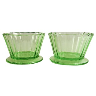Green Depression Glass Sherbet Bowls - A Pair