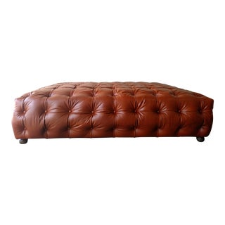 Saddle Brown Tufted Leather Ottoman
