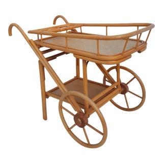 Vintage Bentwood & Rattan Bar Cart