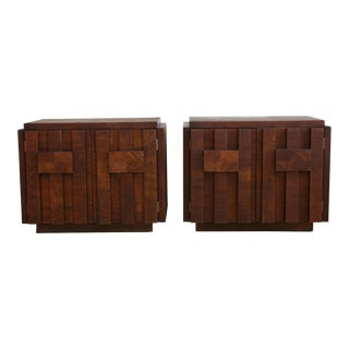 Mid-Century Brutalist Nightstands by Lane - A Pair