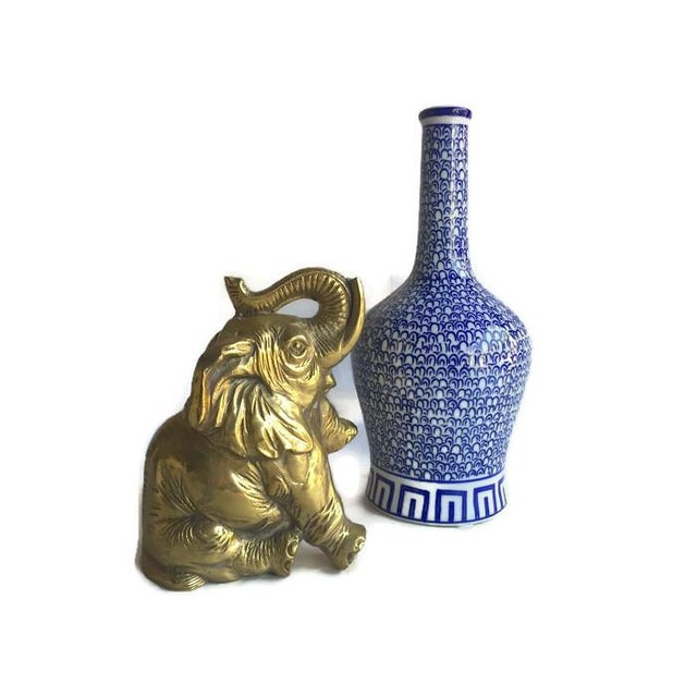 "Image of Vintage Solid Brass Elephant ""Piggy Bank"" Statue"
