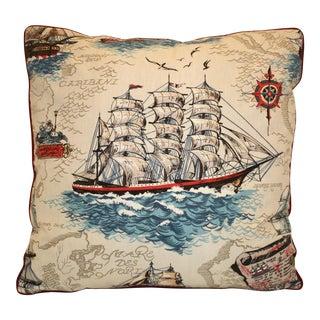 Vintage Clipper Ship Single Pillow