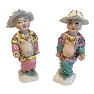 Porcelaine De Paris Antique Chinoiserie Figurines - A Pair