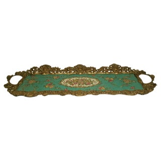 Hand Painted Bronze Earthenware Tray