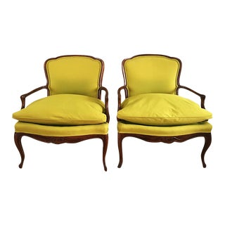 Vintage French Bergere Down Stuffed Chairs - Pair