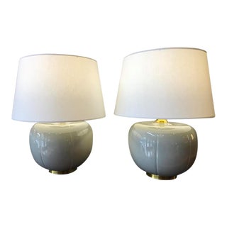 Robert Abbey Glazed Ceramic Pumpkin Lamps - A Pair